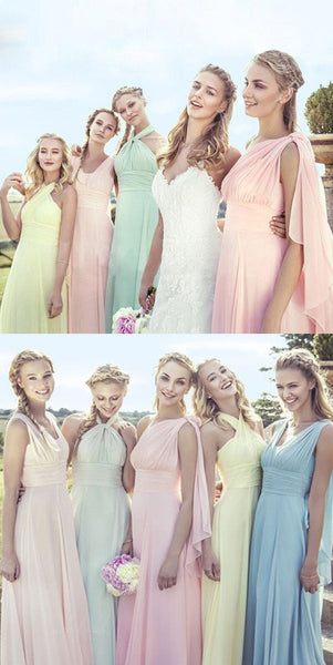 Junior Young Girls Simple Cheap Chiffon Convertible Mismatched Styles Long Formal Bridesmaid Dresses for Wedding Party, BG0065