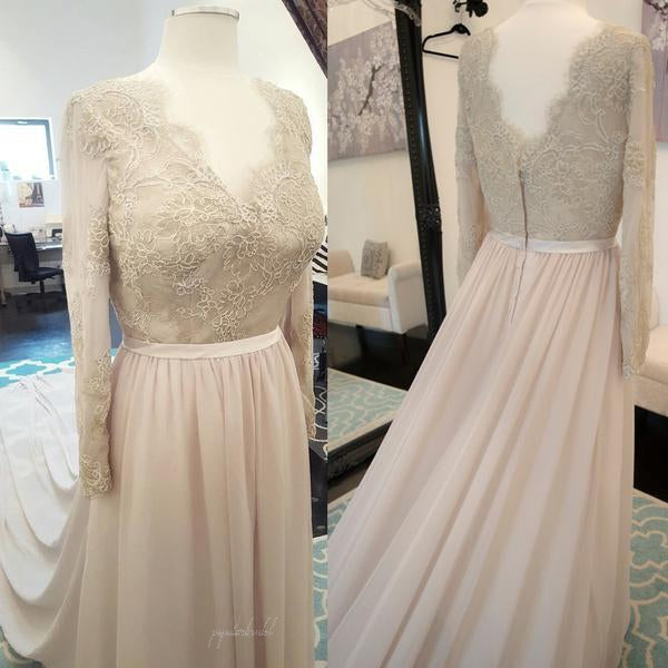 V-neck Long Sleeve Lace Top Long A-line Zip Up Chiffon Wedding Dresses, BG0148