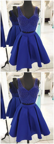 V Neck Beaded Royal Blue Two Piece Homecoming Dresses, EMEO89