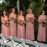 A-Line Convertible Dusty Rose Mismatched Long Bridesmaid Dresses,WGY0460