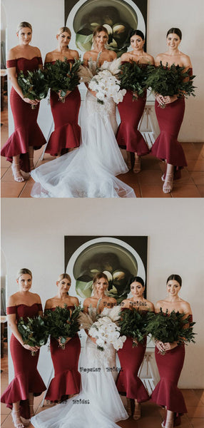 Mermaid Off-the-Shoulder Red Short Bridesmaid Dresses,Cheap Bridesmaid Dresses,WGY0393