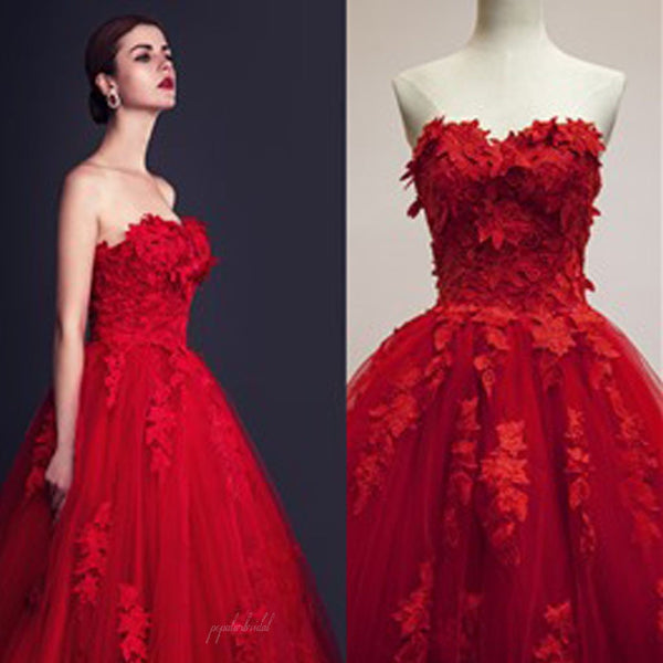 Stunning Red Tulle Sweetheart Appliques Lace Up Ball Gown Wedding Dresses, BG0199