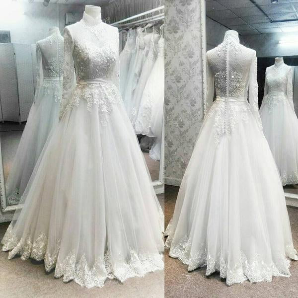 High Neck Long Sleeve See Through Lace Long A-line White Tulle Wedding Dresses, BG0150