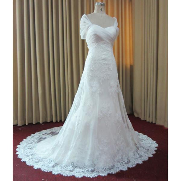Gorgeous Off Shoulder Long A-line White Lace Tulle Wedding Dresses, BG0151