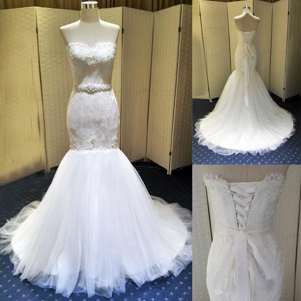Sweetheart Lace Beaded Lace Up With Belt Long Mermaid Wedding Dresses, BG0152