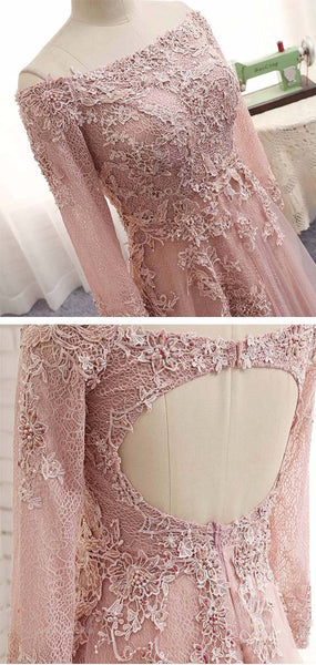 Off Shoulder Long Sleeve Lace Beaded Long A-line Open Back Prom Wedding Dresses, BG0153