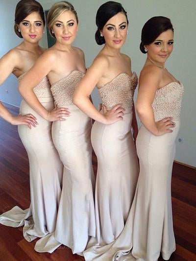 Beaded Sweetheart Sexy Mermaid Women Inexpensive Long Bridesmaid Dresses, BG0028