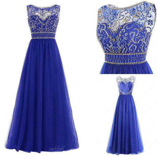 Scoop Neckline Navy Blue Rhinestone Beaded Long A-line Chiffon Prom Dresses, BG0157