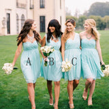 Chiffon Mismatched Simple Styles Junior Knee Length Blue Cheap Short Wedding Party Dresses, BG0046