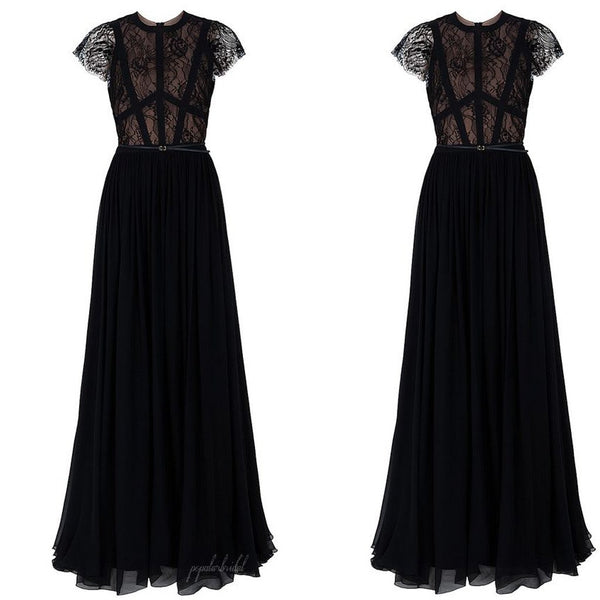 Sexy Black Lace Cap Sleeve Long A-line Chiffon Zip Up A-line Prom Dresses, BG0158