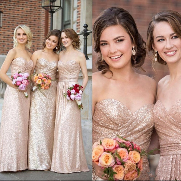 Gorgeous Sequin Elegant Sweet Heart Long Cheap Bridesmaid Dresses for Wedding Party, BG0058