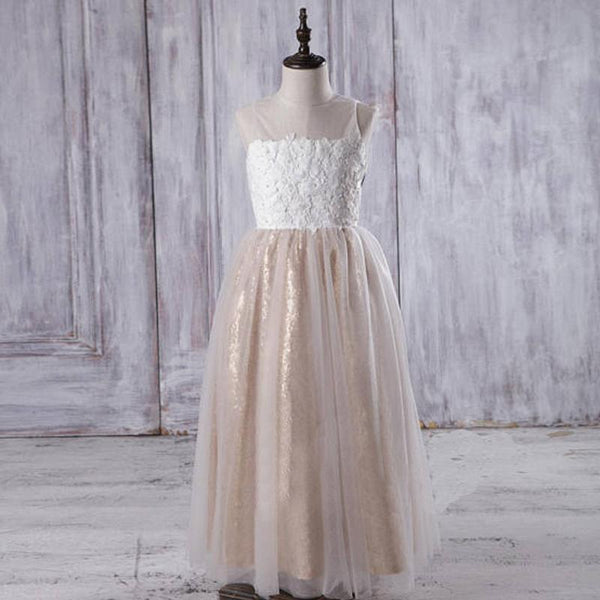 Illusion Ivory Lace Tulle Flower Girl Dresses With Gold Sequin Skirt, Cheap Junior Bridesmaid Dresses, FG060