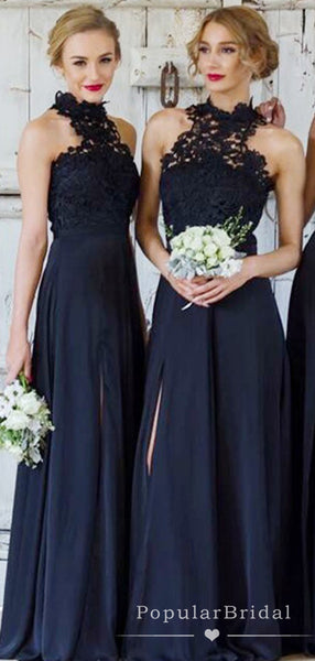 A-Line High Neck Sleeveless Navy Blue Chiffon Long Bridesmaid Dresses With Lace,POWG0016