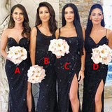 Sheath Navy Blue Tulle Bridesmaid Dresses,Cheap Bridesmaid Dresses,WGY0394