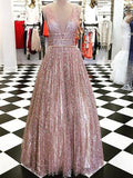 Shinning A-line V-neck Pink Tulle Evening Dresses ,Cheap Prom Dresses,PDY0612
