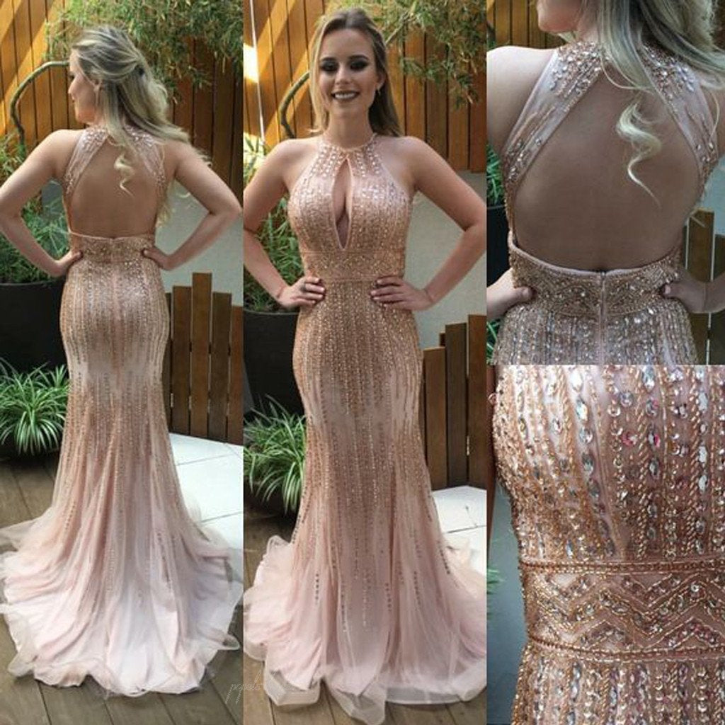655186d2e9321 Sexy Backless Long Mermaid Nude Rhinestone Beaded Luxury Prom Dresses