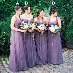 Convertible Mismatched Tulle Wedding Party Dresses Cheap Charming Bridesmaid Dresses, BG0048