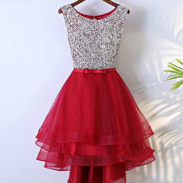 Scoop Neckline Rhinestone Beaded Top Shiny Red Tulle Hi-low Homecoming Dresses, HD016