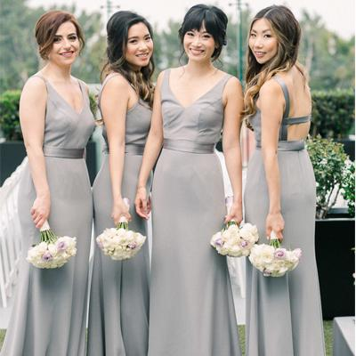 Sheath Straps Backless Grey Bridesmaid Dresses,Cheap Bridesmaid Dresses,WGY0395