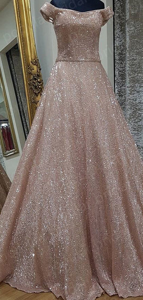 Shinning A-line Off-the-Shoulder Pink Sequin Evening Dresses ,Cheap Prom Dresses,PDY0613