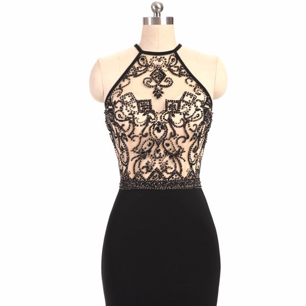 Black Beaded Jersey Sexy See Through Side Slit Mermaid Prom Dresses, BG0357