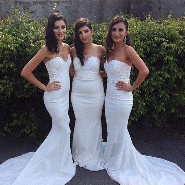 Beautiful White Sweetheart Mermaid Sexy Inexpensive Wedding Party Guest Bridesmaid Dresses, BG0030