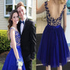 Simple Design Royal Blue Lace Beaded Tulle Cheap  Homecoming Dresses, HD055