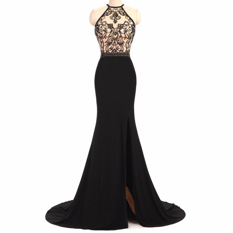 Black Beaded Jersey Sexy See Through Side Slit Mermaid Prom Dresses ... 649bb1073
