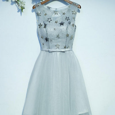 Round Neckline Sparkle Beaded Illusion Top Open Back Lace Up Homecoming Dresses, HD017
