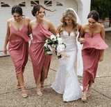 A-line Mismatched Chiffon Tea Length Cheap Bridesmaid Dresses,WGY0392