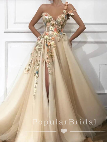 A-Line V-Neck One Strap Split Side Affordable Long Prom Dresses With Appliques,POPD0017