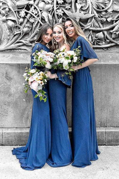 Sheath Dark Blue chiffon Bridesmaid Dresses,Cheap Bridesmaid Dresses,WGY0396