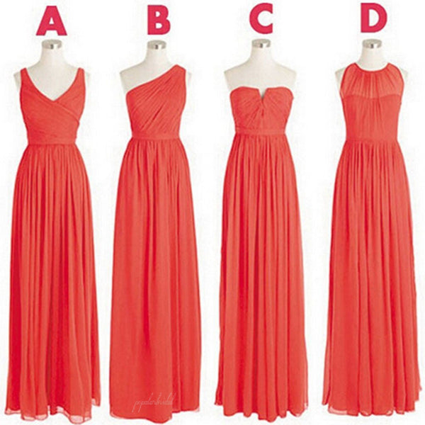 Cheap Simple Mismatched Styles Classic Formal Chiffon Floor-Length A Line Long Bridesmaid Dresses, BG0045