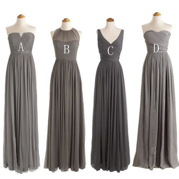 Grey Cheap Simple Mismatched Styles Chiffon Floor-Length Formal Long Bridesmaid Dresses, BG0061