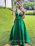 Simple A-Line Deep V-Neck Sleeveless Cheap Floor Length Prom Dresses,POPD0018
