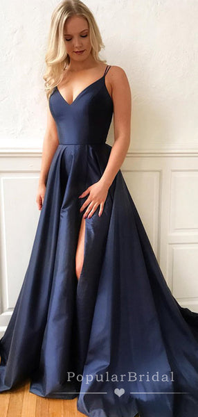 A-Line V-Neck Spaghetti Straps Split Side Long Prom Dresses,POPD0019