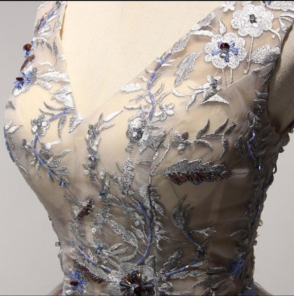 Newest Print Embroidery V-neck Sleeveless Beaded Homecoming Dresses, HD014