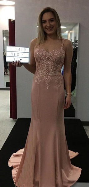 Mermaid Spaghetti Straps Pink Satin Evening Dresses ,Cheap Prom Dresses,PDY0615
