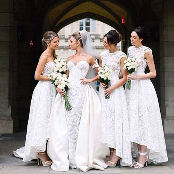 Gorgeous White Lace Mismatched Styles Hi Lo Pretty Long Bridesmaid Dresses for Wedding Party, BG0060
