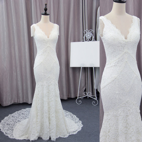 V-neck Mermaid Elegant Lace Wedding Dresses, Free Custom Made Wedding Dresses, BG0343