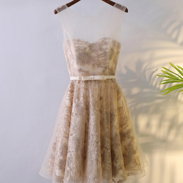 Illusion Newest Style Elegant Lace Up A-line Lace Homecoming Dresses, HD019