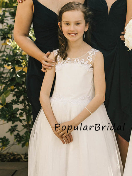 Cute lace tulle ball gown long flower girl dresses, PBH011
