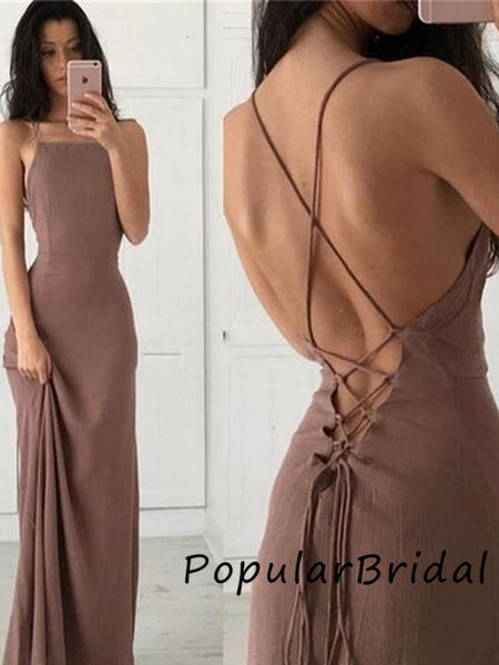 Sexy  jersey strapless spaghetti strap lace up mermaid Long Prom Dresses,PBH004