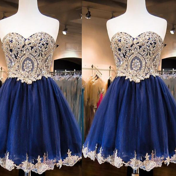 Sweetheart Golden Lace Rhinestone Beaded Navy Blue Tulle Elegant Homecoming Dresses, HD053