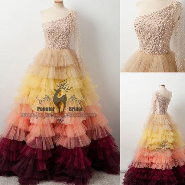One Shoulder Beaded Long A-line Gradient Tulle Prom Dresses, Formal Evening Gown, BG0369