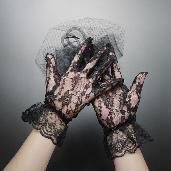Wedding Gloves, Black Lace Wedding Gloves, Short Gloves, Lovely Gloves, TYP0535