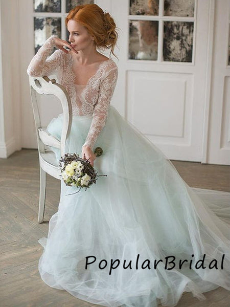 Graceful V-neck tulle lace full sleeve ball gown Long Prom Dresses,PBH003