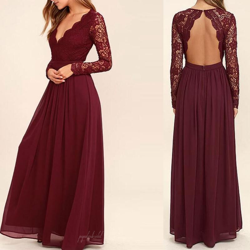 6134c9c28c64 V-neck Long Sleeve See Through A-line Chiffon Bridesmaid Dresses, Open Back