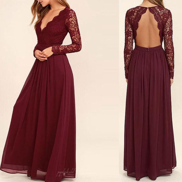 V-neck Long Sleeve See Through A-line Chiffon Bridesmaid Dresses, Open Back Bridesmaid Dresses, BG0050