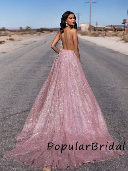 Sexy  sequin V-neck  spaghetti strap backless ball gown long Prom Dresses, PBH006
